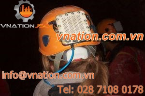 protection helmet / with light / with fuel cell / for speleology