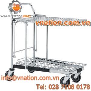 transport cart / shelf / wire mesh platform / for heavy loads
