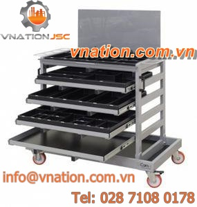 storage cart / shelf / for accessory / with swivel casters