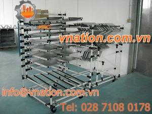 handling cart / shelf / multipurpose / free roller