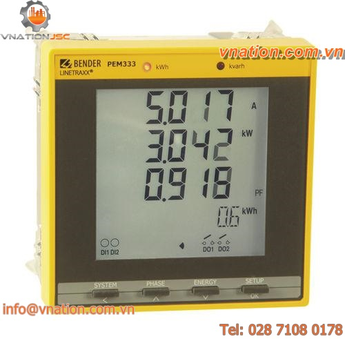 electrical network measuring device / AC current / frequency / voltage