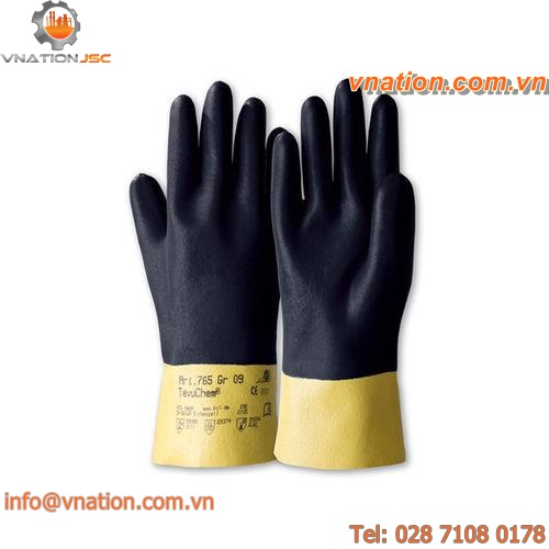 handling glove / chemical protection / nitrile / cotton